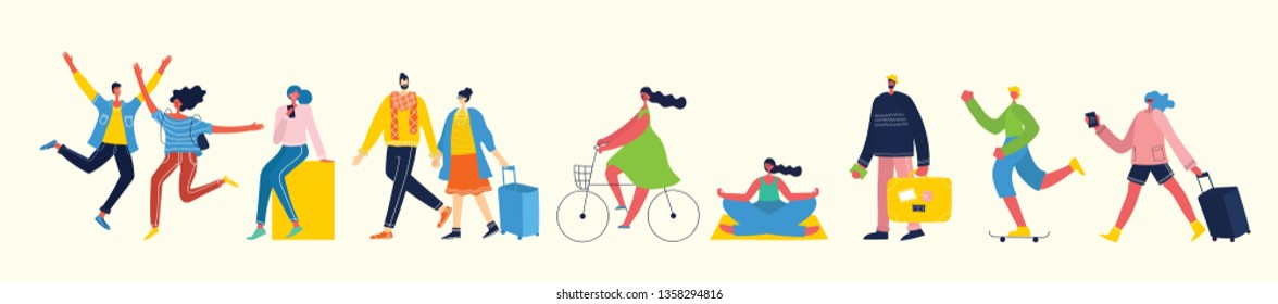 Vector illustration in a flat style of different activities people jumping, traveling, dancing, walking, couple in love, doing sport, have party