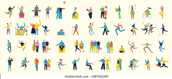 Vector illustration in a flat style of different activities people jumping, with smarthones, travel, dancing, walking, business, couple in love, doing sport, have party