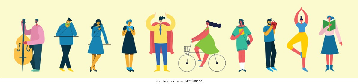 Vector illustration in a flat style of different activities people with smarthones, travelling, dancing, walking, business, reading books, playing musical instruments