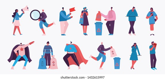 Vector illustration in a flat style of different activities people with smarthones, travelling, dancing, walking,  doing business, reading books, playing musical instruments