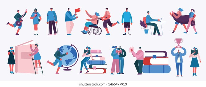 Vector illustration in a flat style of different activities people with smarthones, travelling, disabled people,walking, doing business, reading books, playing musical instruments