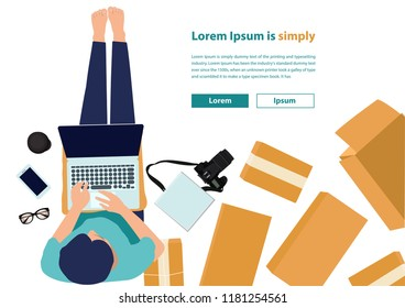 Vector illustration, flat style, discuss social network top view of women working laptop computer on floor with postal parcel, Selling online small business owner ideas concept