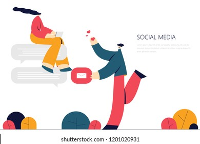 Vector illustration, flat style,  discuss social network, news, social networks, chat, dialogue. Use in Web Project and Applications.