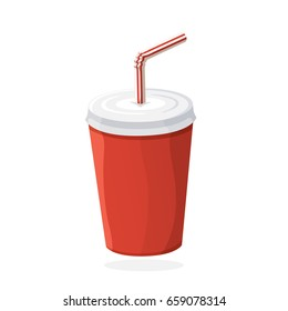 Vector illustration in flat style. Disposable paper cup with soda and straw. Unhealthy food. Sticker in cartoon style with contour. For patches, prints for clothes, badges, posters, emblems, menus