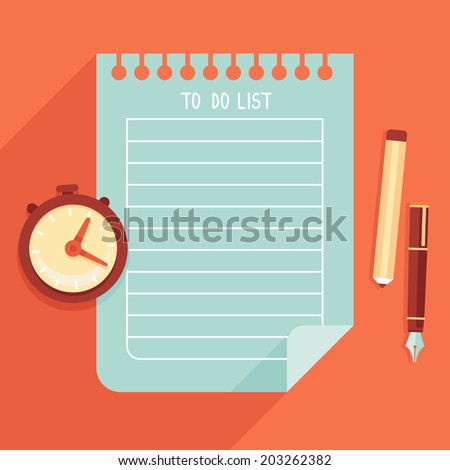 Vector illustration in flat style - to do list on notebook page