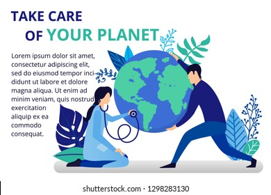 Vector illustration in flat style. Earth globe in the hands. Doctor take care of Earth. Save the planet, save energy, the concept of the Earth day. Can use for website, banners and brochure.