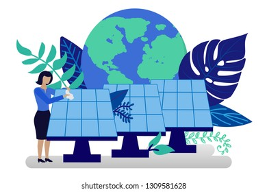 Vector illustration in flat style. Earth globe with electric car, alternative renewable energy. solar energy, technological solar panels. schedule design environmental resource. Ecology concept