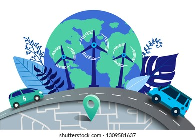 Vector illustration in flat style. Earth globe with electric cars, alternative renewable. schedule design environmental resource. Ecology and future  technology - electrical road concept.