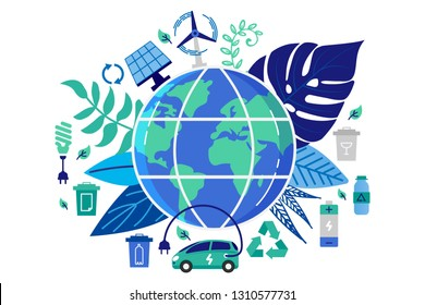 Vector illustration in flat style. Earth globe with electric car. Save the planet, save energy, the concept of the Earth day. Can use for website, banners and brochure.