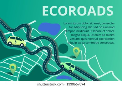 Vector illustration in flat style. Eco roads with electric cars, alternative renewable. schedule design environmental resource. Ecology and future  technology - electrical road concept.