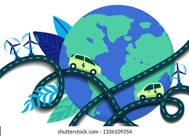 Vector illustration in flat style. Eco roads with electric cars, alternative renewable. Earth globe with winding roads. Ecology and future  technology - electrical road concept.