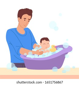 Vector illustration in a flat style. Father bathes a small child. The kid has fun in the bath with a duck and foam, soap bubbles. Dad stay home and take care of the newborn baby.Guy on maternity leave