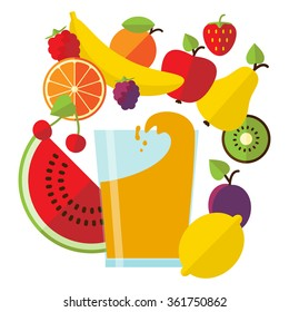 Vector illustration in flat style with glass of fresh juice and tasty fruit.