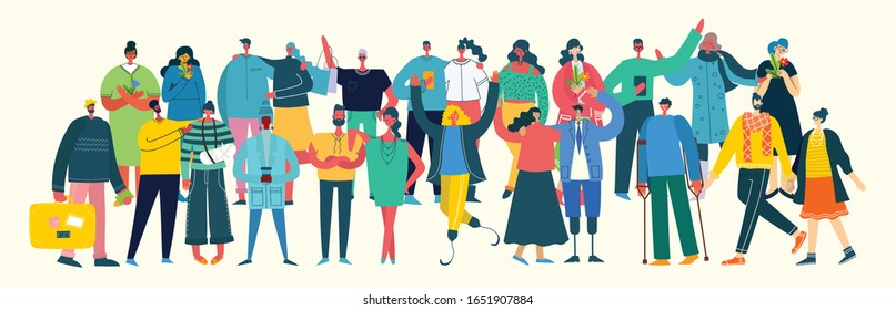 Vector illustration in a flat style of group of different activities of people