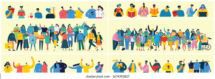 Vector illustration in a flat style of group of different activities of people - Shutterstock ID 1674392827