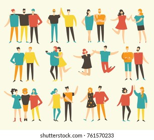 Vector illustration in a flat style of group of happy fashion people - best friends forever