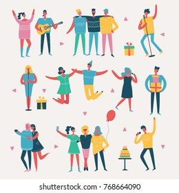 Vector illustration in a flat style of group of happy fashion people on the party - best friends forever.
