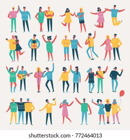 Vector illustration in a flat style of group of happy fashion people - best friends on the party.