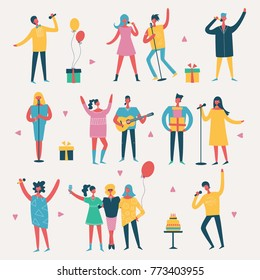 Vector illustration in a flat style of group of happy fashion people - best friends on the party