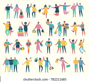 Vector illustration in a flat style of group of happy fashion birthday party, shopping, dancing and singing people