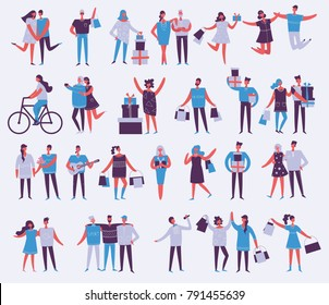 Vector illustration in a flat style of group of different people activities