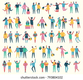 Vector illustration in a flat style of group of happy dancing, singing, shopping and birthday party people