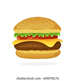 Vector illustration in flat style. Hamburger with cheese, tomato and salad. Unhealthy food. Sticker in cartoon style with contour. For patches, prints for clothes, badges, posters, emblems, menus