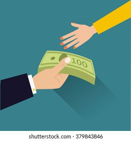 vector illustration in flat style, hand giving money to other hand