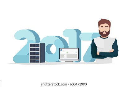 Vector Illustration in Flat Style of a Handsome Man with Server Rack and Monitor in Front of Big Digits