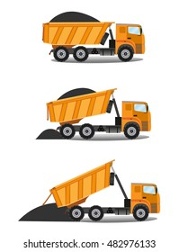Vector illustration in flat style heavy tipper delivered coal.