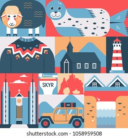 Vector illustration in flat style with Icelandic symbols. Sheep, seal, sweater, Budir black church, Akureyrarkirkja, skyr. Travel concept for posters, prints, postcards, banners, flayers.