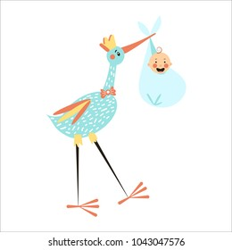 Vector Illustration. Flat style icon of happy boy in diaper and stork. Simple object for baby shower design card.