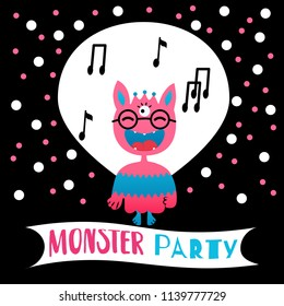Vector illustration. Flat style icon of cute monster. Greeting card for children's birthday or party.