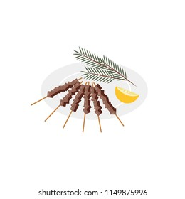 Vector illustration. Flat style icon of skewers of meat. Traditional italian food for different design.
