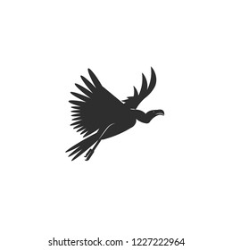 Vector illustration. Flat style icon of vulture. Cute character for different design. Simple silhouette pictogram.
