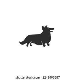 Vector illustration. Flat style icon of Welsh Corgi Cardigan for different design. Cute family dog. Simple silhouette pictogram.