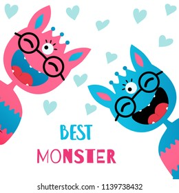 Vector illustration. Flat style icons of cute monsters. Greeting card for children's birthday or party.