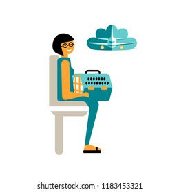 Vector Illustration. Flat style icons of pet transporation on plane. Cute character with personal travel dog's or cat's bag.