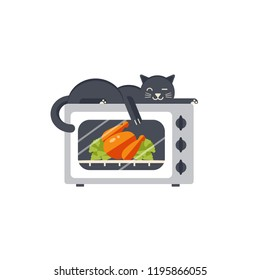 Vector illustration. Flat style icons of turkey in microwave oven, funny cat. Simple elements for kitchen interior with cute character.