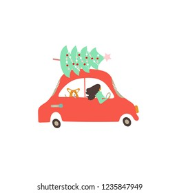 Vector illustration. Flat style icons of retro transport and cute characters for Christmas greeting card. A woman with corgi in a family car is driving down the road.