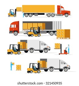 Vector illustration in a flat style icons cargo transportation goods by road trucks, loading and unloading of goods lift trucks, varieties forklifts