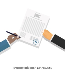 Vector illustration. Flat style. The image of the hands of businessmen or clerks, office workers, lawyers, civil servants and client signatories contract.  Modern concept for web banners, web sites, i