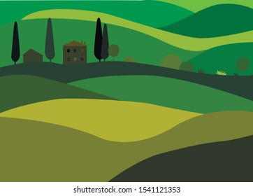 Vector illustration in flat style. Italian or Tuscan landscape. Houses and trees on light and dark green background for poster, card wallpaper. EPS 10.