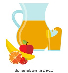 Vector illustration in flat style with jug and glass with fresh juice and fruit.
