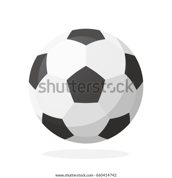 Vector illustration in flat style. Leather soccer ball. Sports equipment. Decoration for greeting cards, prints for clothes, posters, wallpapers