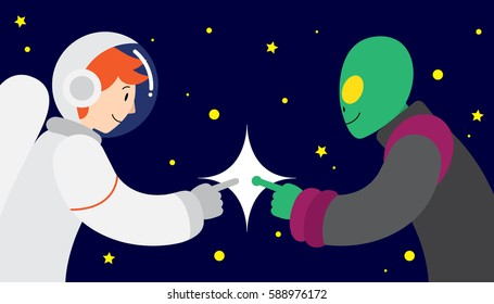 Vector illustration in flat style of a male astronaut having first contact with a green alien in space. First contact between mankind and alien among the stars