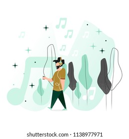 Vector illustration in a flat style. A man is walking between trees. Listens to music on headphones.