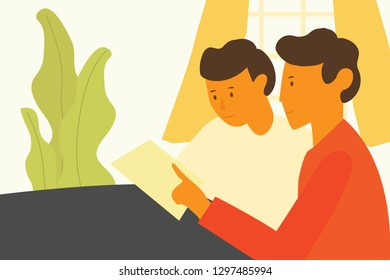 Vector illustration in flat style, meeting people, people discussing something. Colleagues are sitting at the table to discuss - Vector