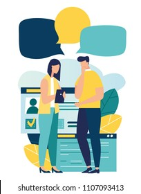 Vector illustration, flat style, news, social networking, chat, dialogue speech bubbles, websites