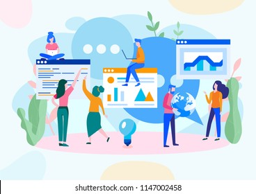 Vector illustration, flat style, news, social networks, chat, dialogue speech bubbles, businessmen discuss social network, smart team, team work, web development, marketing
